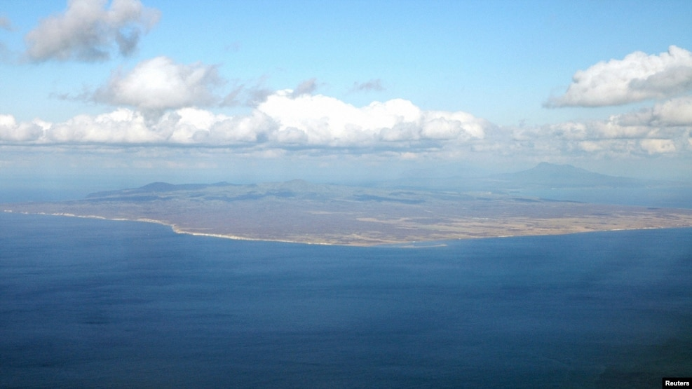 An aerial view shows Kunashiri Island, one of four islands known as the Southern Kuriles in Russia.