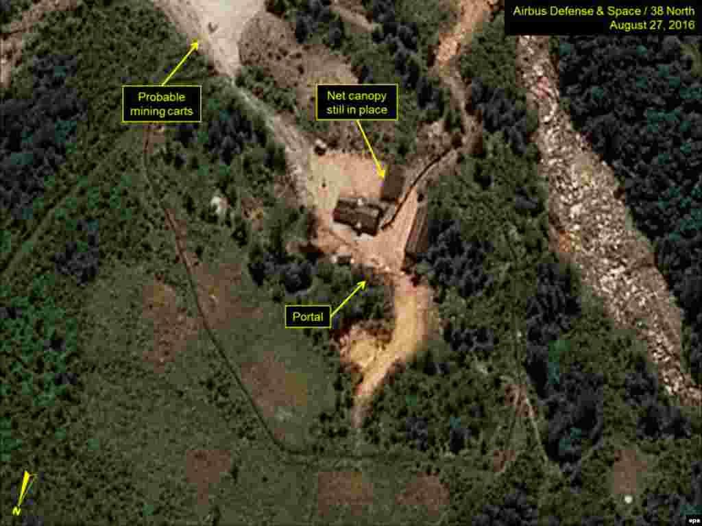 Спутниковый снимок места, где, как предполагают аналитики спецслужб государств-членов НАТО, расположен ядерный испытательный полигон КНДР. Август 2016 года.