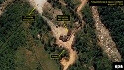 Спутниковый снимок предположительного места ядерных испытаний в КНДР, где-то на северо-востоке страны