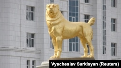 "According to state media, the statue is dedicated to a dog breed that has played a role ""in the historical destiny of the nation."""