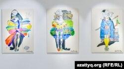Картины из цикла The Burning Kelin художницы Асель Кенжетаевой на выставке «Права человека: 50 оттенков голубого». Автор фото: Роман Егоров.