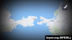 Керчинська протока на мапі картографічного ресурсу Nokia Here