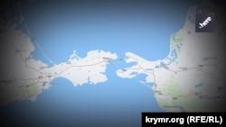 Керченский пролив на карте картографического ресурса Nokia Here