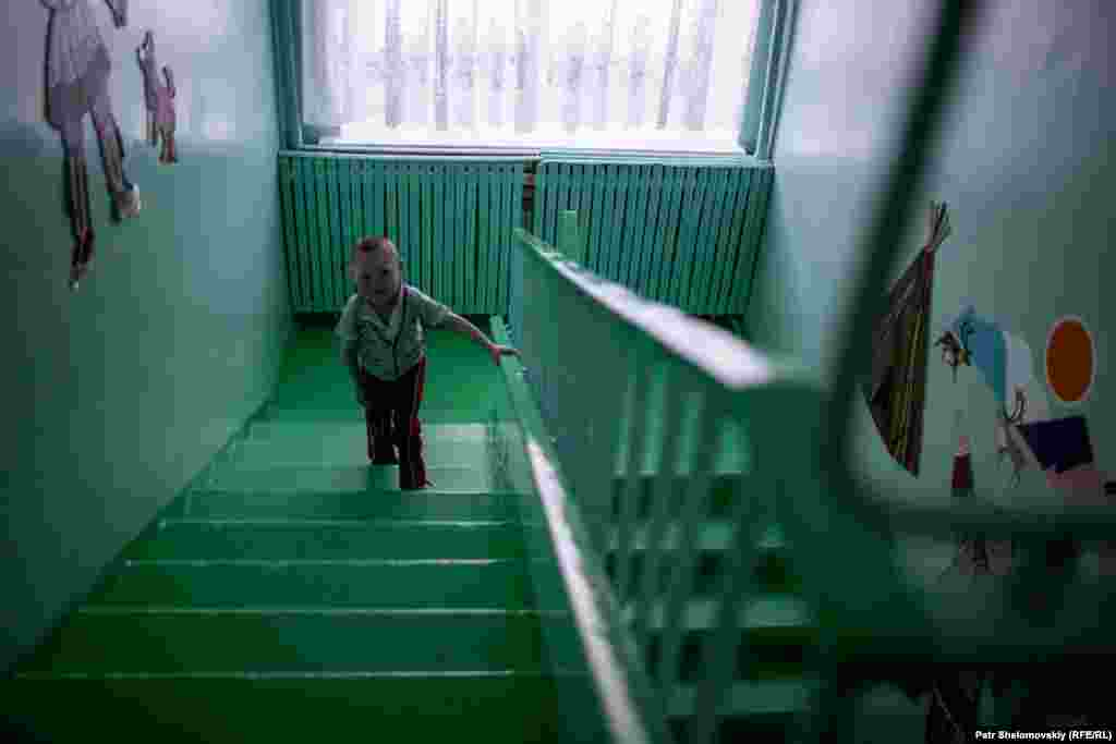 A boy from the Nenets minority attends a boarding school in Sovetskiy.
