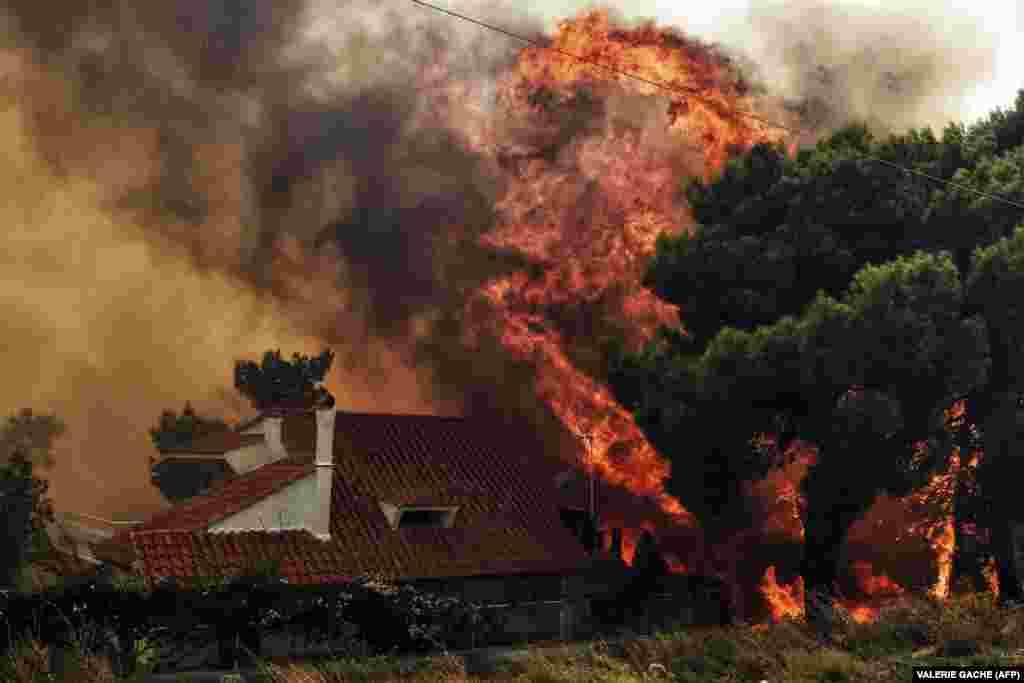 К настоящему моменту власти официально подтвердили гибель 74 человек (данные на 24 июля). К тушению привлечены более 300 пожарных, несколько самолетов и вертолетов. На фото: огонь подходит к жилому дому в Кинете в окрестностях Афин, 23 июля 2018 года.