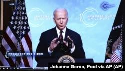 aмериканскиот претседател Џо Бајден на виртуелниот самит за глобална клима , 22 април 2021 година