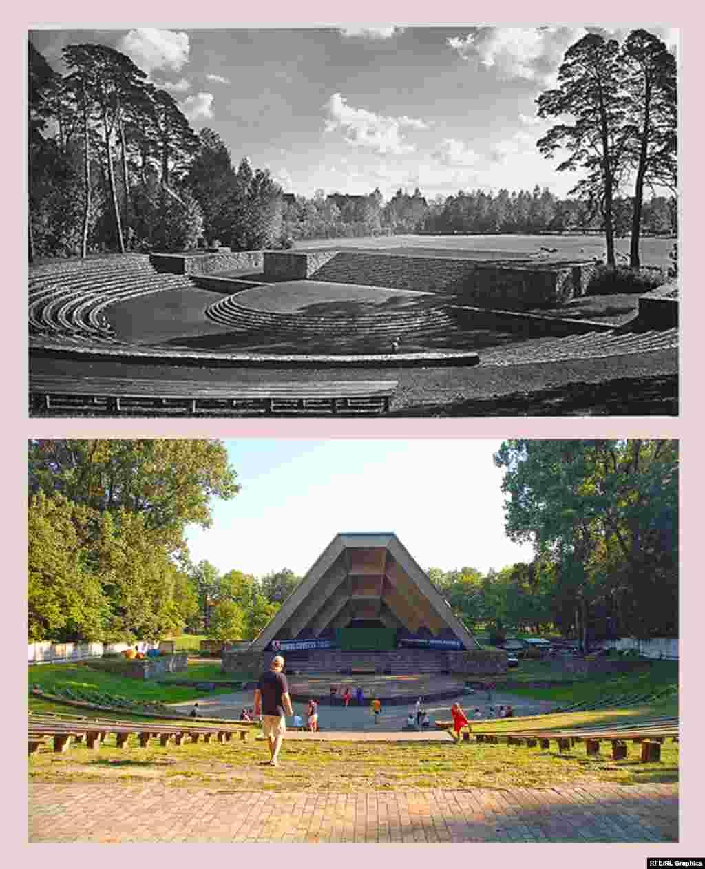 Советск (ранее – Тильзит), Зеленый театр (ранее – Тинг) Тинги – амфитеатры в форме подковы, предназначенные для собраний патриотической молодежи Третьего рейха. Нацистское министерство пропаганды планировало построить по всей стране 1200 тингов, на деле было возведено 40. Тильзитский тинг появился в 1935 году. Тинги находились на открытых площадках, визуально включавших в себя окрестные пейзажи. Сцена, возведенная в послевоенные годы, лишила тинг в Советске именно этой черты. Зато современный лозунг справа, гласящий «Сильная Россия – Единая Россия» как раз очень точно соответствует изначальному духу места.