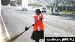 Uzbek woman working as usual on Women's Day
