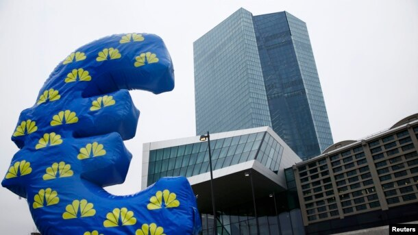 Inflated euro currency sign outside the headquarters of the European Central Bank in Frankfurt