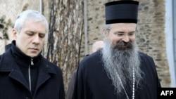 Serbian President Boris Tadic (left) with Bishop Teodosije outside Visoki Decani Monastery on January 6