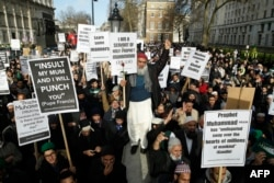 """""""Шарли"""" по душе не всем: демонстрация мусульман в Лондоне, протестовавших против публикации карикатур на пророка Мухаммеда"""