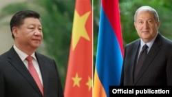Президент Армении Армен Саркисян (справа) и председатель КНР Си Цзиньпин