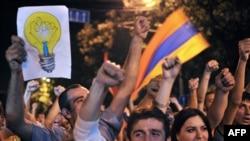 """Yerevanda """"elektrik"""" etirazı"""