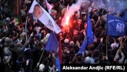 Мітынг прыхільнікаў сэрбскай радыкальнай партыі ў Бялградзе, 15 лістапада 2014
