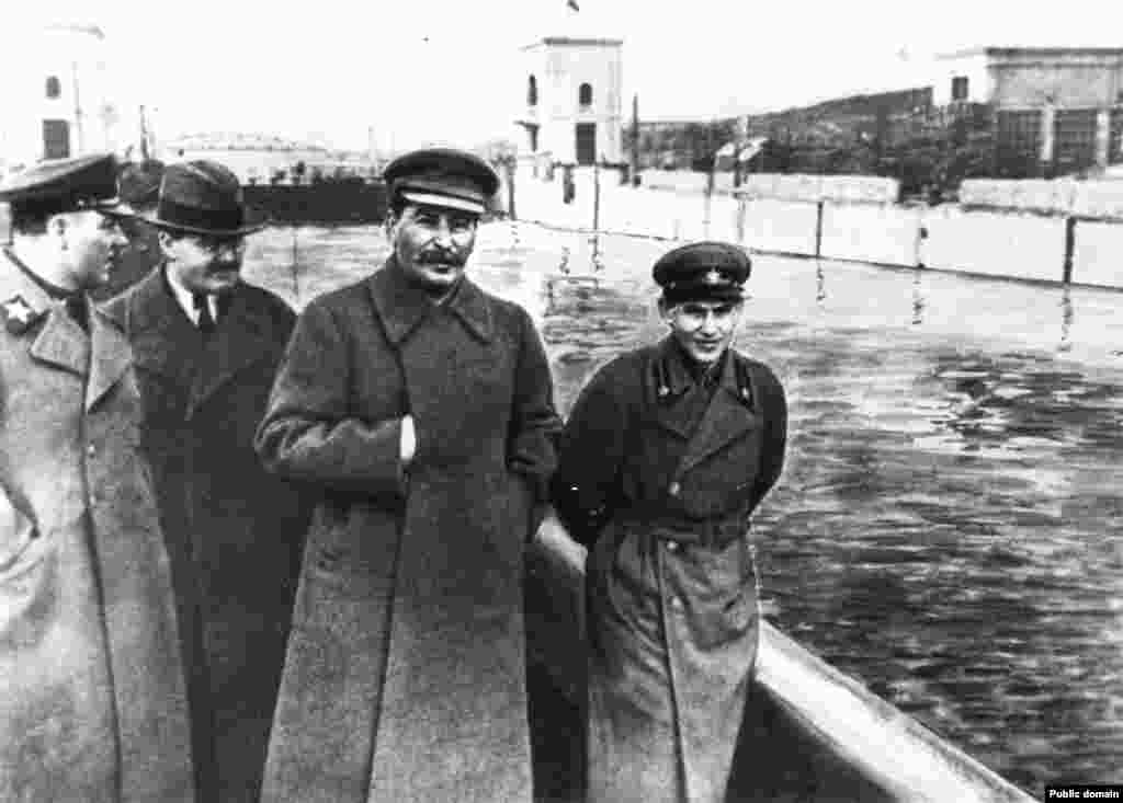 "As the head of Stalin's secret police, Nikolai Yezhov (right) oversaw the executions of more than half a million Soviet citizens during the ""great purge."""