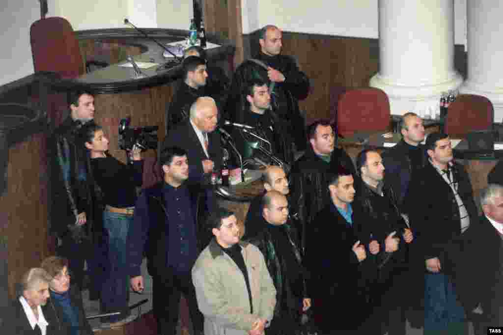 President Eduard Shevardnadze minutes before being driven out of the parliament chamber by angered opposition leaders in November 2003.