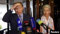 Леонід Кучма та Гайді Тальявіні після переговорів в Мінську, архівне фото