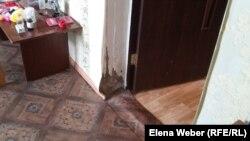 Стена и пол в пострадавшем в результате затопления доме. Село Кокпекты, Карагандинская область, июнь 2016 года.