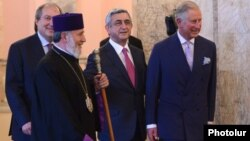 Armenia - President Serzh Sarkisian, Catholicos Garegin II and Prince Charles arrive for a concert of the Armenian State Youth Orchestra in Yerevan, 29May2013.
