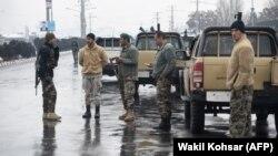 Афганські сили безпеки біля місця нападу бойовиків на військових, Кабул, 29 січня 2018 року