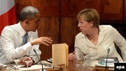 АҚШ президенті Барак Обама мен Германия канцлері Ангела Меркель.
