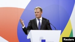 European Council President Donald Tusk speaks at a news conference after the Valletta Summit on Migration, followed by an informal meeting of European Union heads of state and government in Valletta earlier in Novembeer.