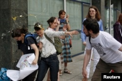 An attack on gay-rights activists in Moscow (file photo)