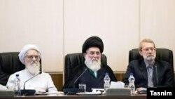 Members of Expediency Discernment Council (L-R) Mohammad Ali Movahedi-Kermani, Mahmoud Hashemi Shahroudi and Ali Larijani