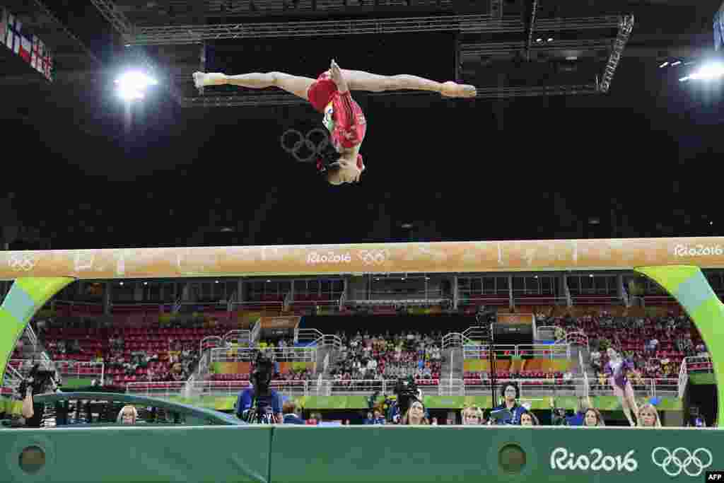 China's Fan Yilin competes in artistic gymnastics.