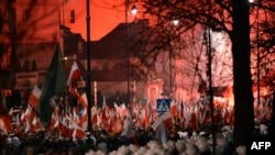 Марш каля расейскай амбасады ў Варшаве