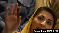 Maryam Nawaz, leader of opposition political party Pakistan Muslim League Nawaz, speaks during a press conference Pakistan Democratic Movement (PDM), in Karachi on October 19