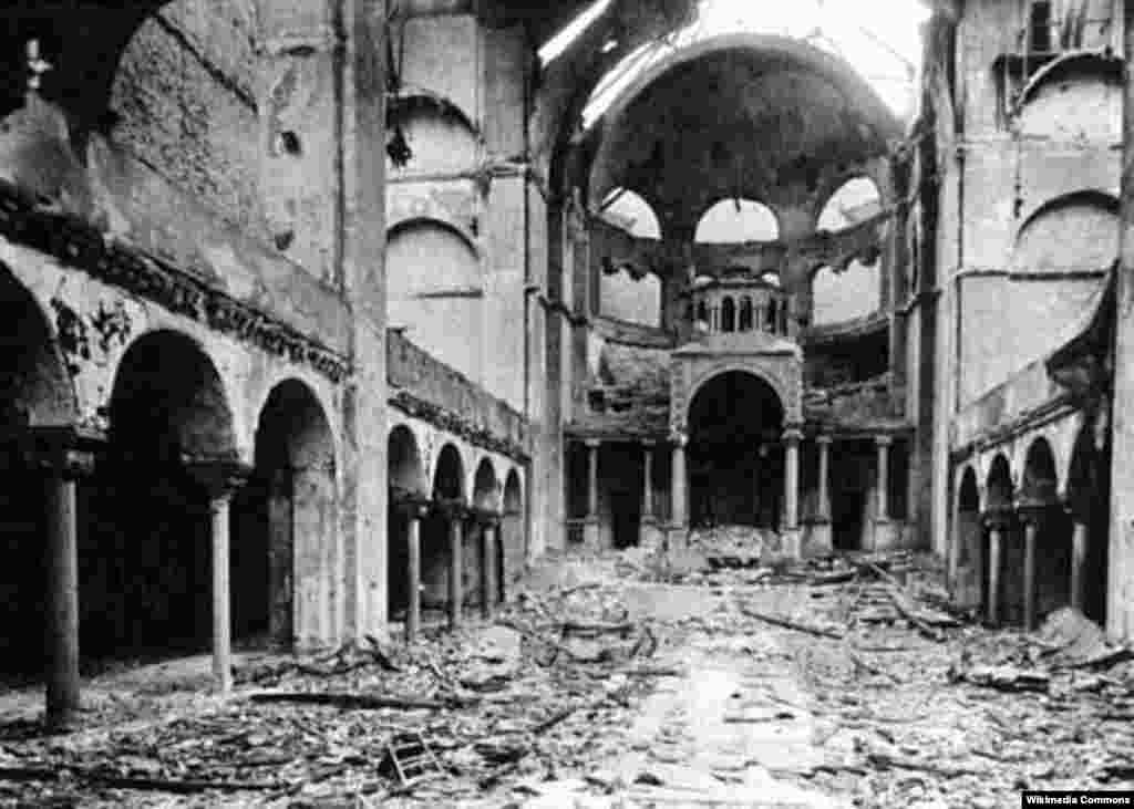 The gutted interior of the Fasanenstrasse Synagogue in Berlin, November 10, 1938.