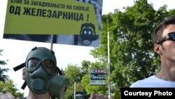 Архивска фотографија: Протест против загадувањето на воздухот од Железарница во Скопје.