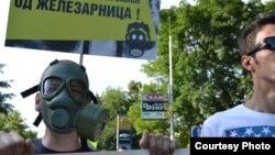 Архивска фотографија: Протест против загадувањето на воздухот од Железарница во Скопје на 2 јули 2014.