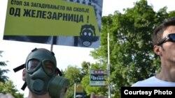 Протест против загадувањето на воздухот од Железарница во Скопје.
