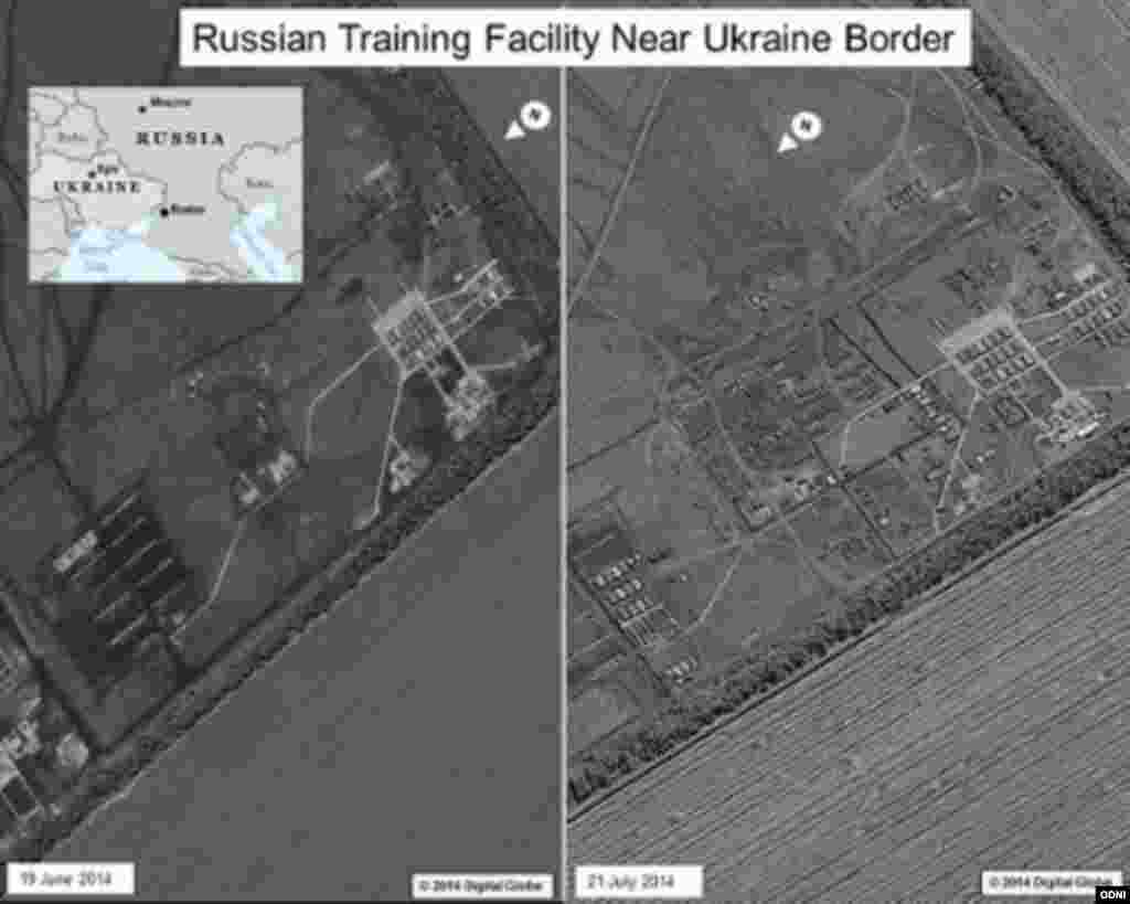 "A side-by-side comparison of satellite images of a Russian military base near Rostov appears to show increased activity since June 2014. According to ""The Washington Post,"" U.S. intelligence officials identified the base for the first time as the main source of Russian military support for separatists in Ukraine."
