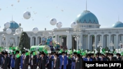 A parade in downtown Ashgabat