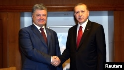 Turkish President Tayyip Erdogan (right) and his Ukrainian counterpart Petro Poroshenko also discussed bilateral energy-sector cooperation and the recent terrorist bomb attacks in eastern Turkey. (file photo)