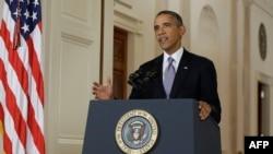 АҚШ президенті Барак Обама Сирияға қатысты мәлімдеме жасап тұр. Вашингтон, 11 қыркүйек 2013 жыл.