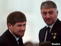 Президент Чечни Рамзан Кадыров и депутат Госдумы Адам Делимханов в Кремле на оглашении послания Путина. 12 декабря 2013 года