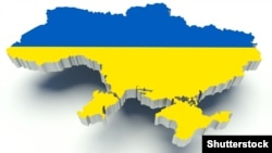 Ukraine – Map of Ukraine with flag colors. 3d render illustration.