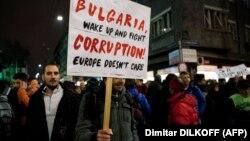 Imagine de la un protest în Bulgaria