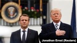 Президент Франции Эммануэль Макрон (слева) и президент США Дональд Трамп. Вашингтон, 24 апреля 2018 года.