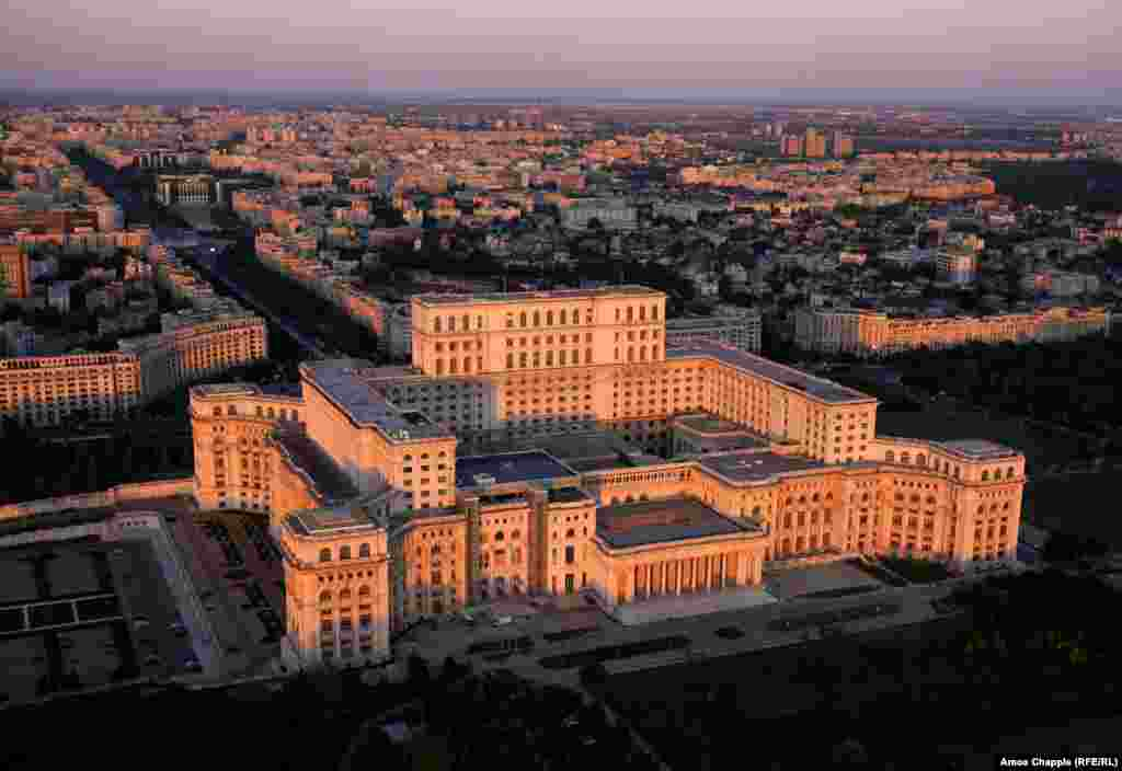 Bucharest, Romania. The imposing Palace of the Parliament in downtown Bucharest.