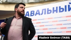 Leonid Volkov attends the opening of the Aleksei Navalny election campaign office in Ivanovo in April.