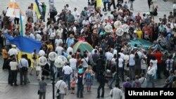 Протест врадіївців проти свавілля міліції, наметовий табір, Київ, 18 липня 2013 року