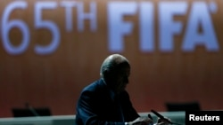 Президент ФИФА Йозеф Блаттер на трибуне 65-го конгресса ФИФА. Цюрих, 29 мая 2015 года.
