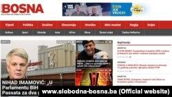 Naslovnica portala Slobodna Bosna, 27. februar 2016.