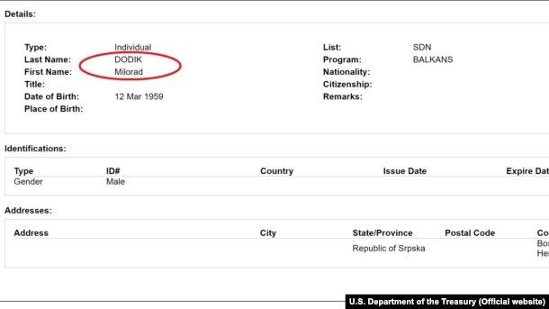Ime Milorada Dodika na spisku američkog Ureda za kontrolu imovine stranaca