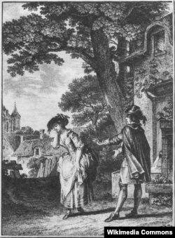 Сцена из оперы «Деревенский колдун». Гравюра Жан-Мишеля Моро. 1753
